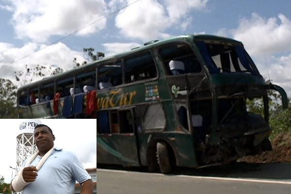 Ônibus que tombou na BR-101 em Goiana, e o vocalista Luís Carlos.
