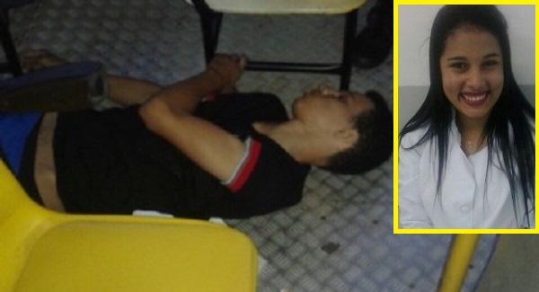 Alexandrina Alves Rodrigues de 19 anos, e o assaltante.