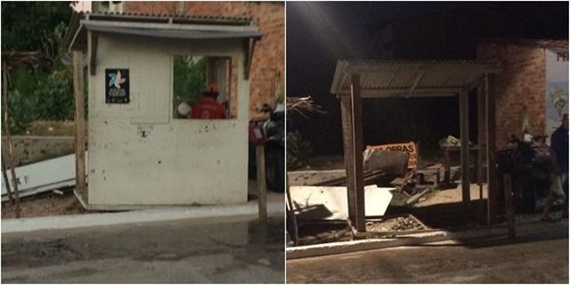 Prefeitura de Paulino Neves retira guarita de obra para retaliar policiais militares.