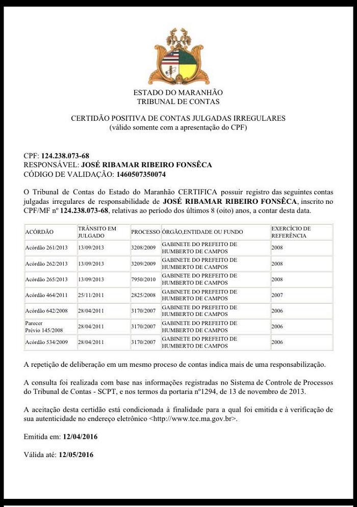 CERTIDÃO DE CONTAS IRREGULARES.