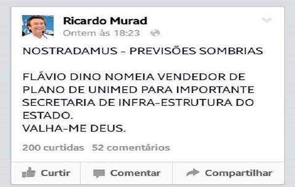 RICARDO MURAD APAGA COMENTÁRIO PRECONCEITUOSO CONTRA IMPERATRIZ.