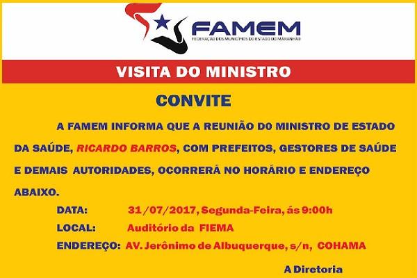 FAMEM convida prefeitos e prefeita para reunião com Ministro da Saúde.