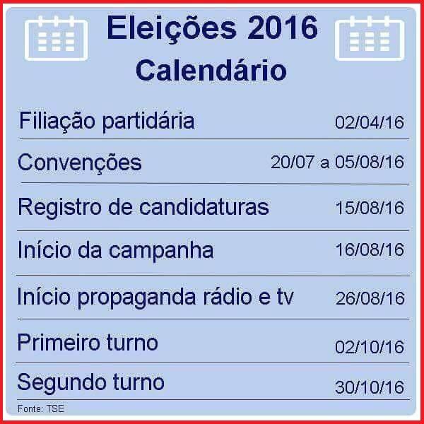 Calendário Eleitoral 2016.