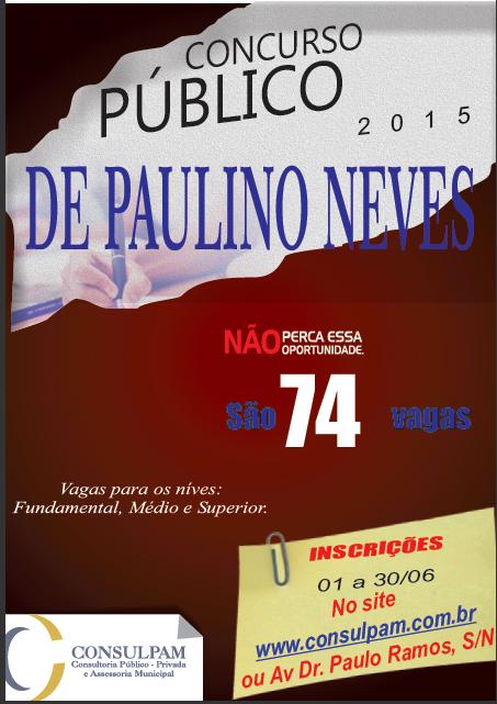 Cartaz concurso Paulino Neves.