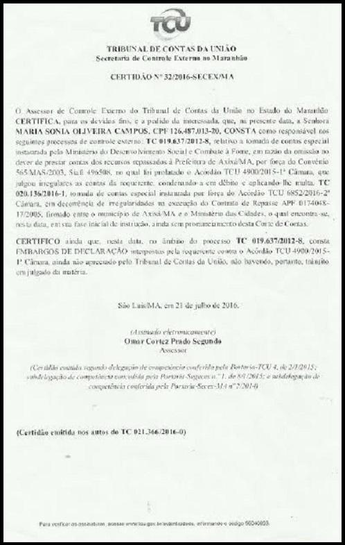 Certidão mostra que Soninha tem mais de uma conta rejeitada no TCU.