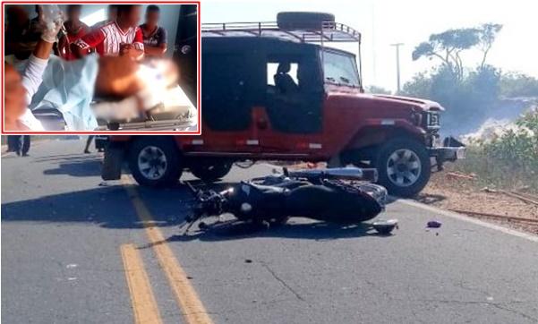 Colisão entre um carro e uma moto em Humberto de Campos, causa a morte de duas pessoas.