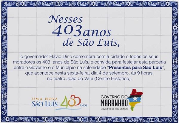 Convite presentes para São Luís.