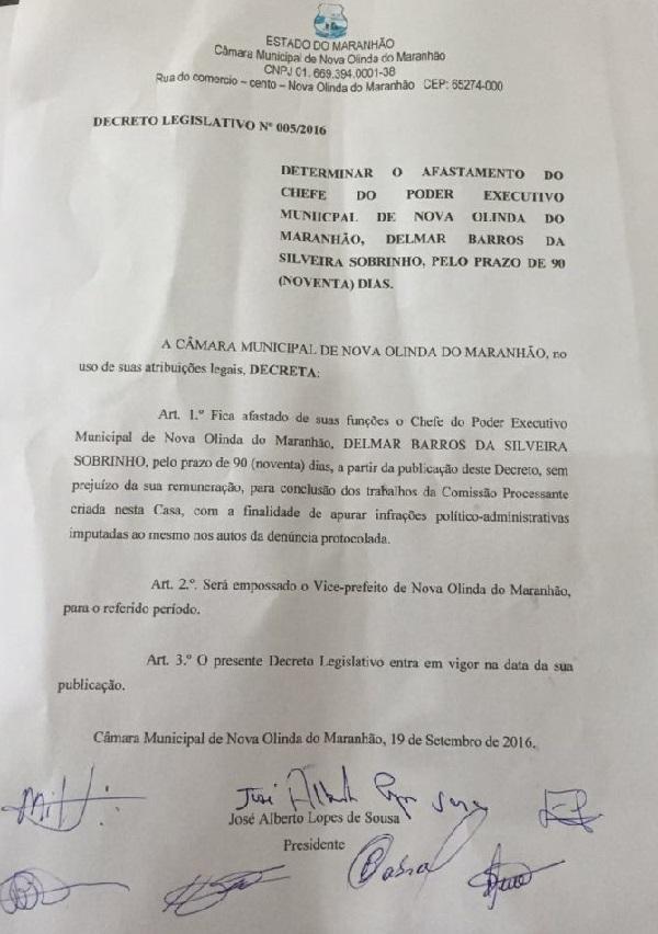 DOCUMENTO DA CÂMARA DE NOVA OLINDA.