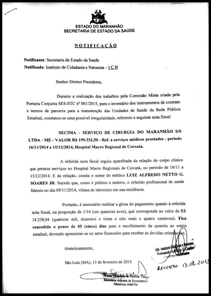 DOCUMENTO MOSTRANDO O ABSURDO.