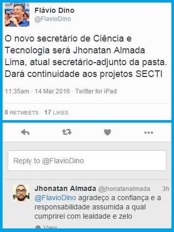 FLÁVIO DINO NO TWITTER.