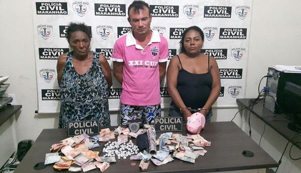 """""""Vovó do tráfico"""" e mais dois são presos no interior do Maranhão."""
