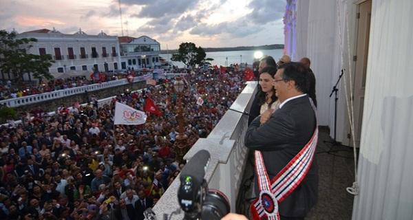 Flávio Dino, instaurando a República no Maranhão em janeiro de 2015 durante sua posse no Palácio dos Leões.