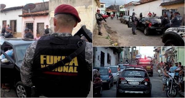 Força Nacional e PM nas ruas da capital…