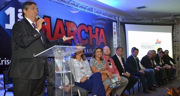 Governador Flávio Dino durante participação na 1ª Marcha Municipalista.
