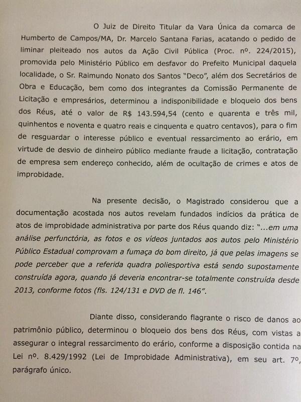 JUIZ BLOQUEIA BENS DO PREFEITO.