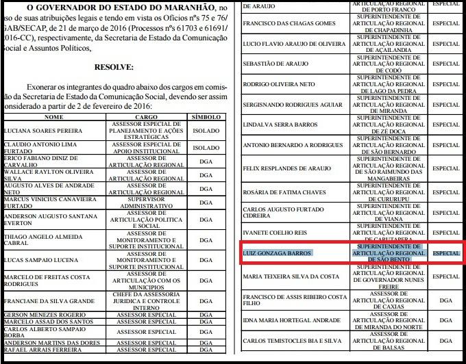 O agora ex-superintendente de Articulação Regional de São Bento, cujo nome está grifado de azul, havia sido nomeado semana passada.
