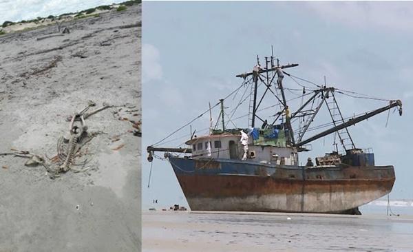 Ossada humana aparece na mesma praia onde o 'barco fantasma' Baraka encalhou, em Cedral.