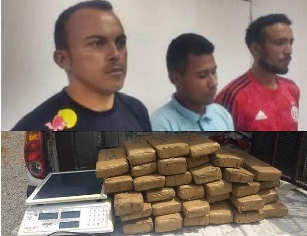 PM apreende mais de 130 quilos de maconha e prende três suspeitos de tráfico em Paço do Lumiar.