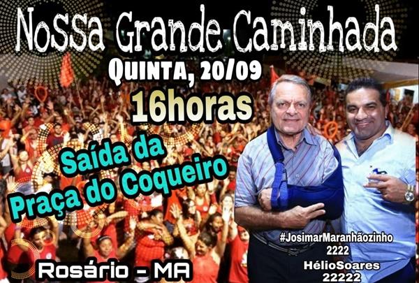 Não percam Grande Caminhada com Josimar e Hélio Soares nesta quinta-feira(20) em Rosário.