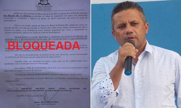 Justiça bloqueia contas da prefeitura de Icatu para pagar professores.