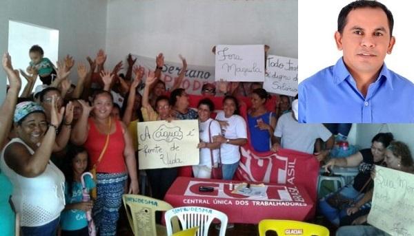 Com salários atrasados, servidores protestam em Serrano do Maranhão.