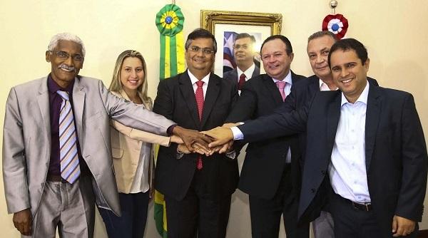 Governador Flávio Dino e o vice com prefeitos de São Luís (Edivaldo Júnior), São José de Ribamar (Luis Fernando), Paço do Lumiar (Domingos Dutra) e Raposa (Talita Laci).