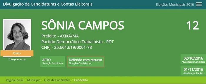 Sônia Campos depende da Justiça Eleitoral para confirmar vitória em Axixá.