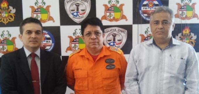 Secretário Adjunto de Segurança Pública, delegado Saulo Ewerton, Coronél Célio Roberto comandante do Corpo de Bombeiros Militar do Maranhão e o Secretário de Estado de Meio Ambiente, Marcelo Araújo.