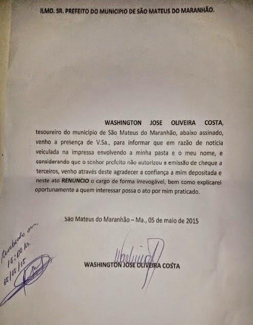 Tesoureiro de São Mateus renuncia.