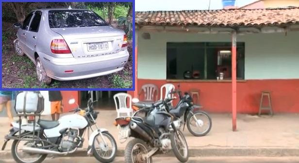 Veículo usado em assalto que terminou com o PM baleado.