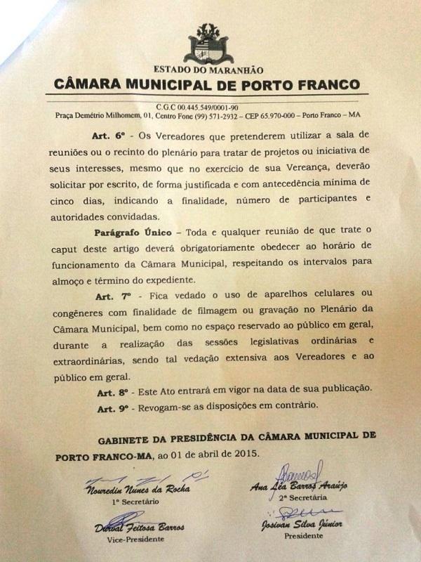 CÂMARA DE VEREADORES PROIBINDO A IMPRENSA.