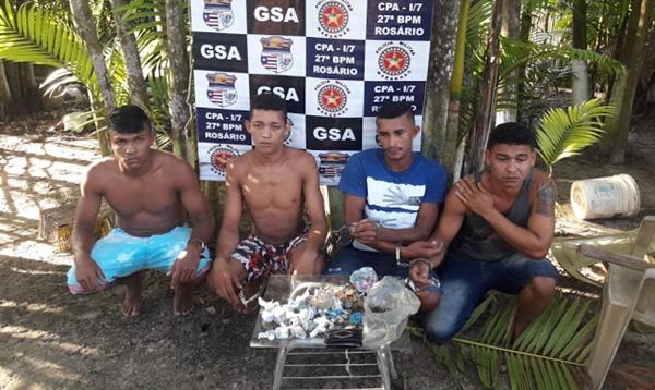 Equipe do 27ºBPM de Rosário prendem quatro suspeitos de tráficos de drogas na cidade.