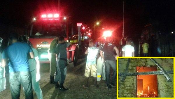Corpo de Bombeiro, policiais, guardas municipais e populares próximo a residência incendiada.